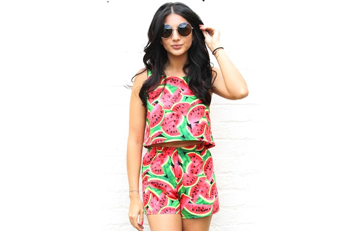 One Nation Clothing Watermelon Crop Top And Shorts