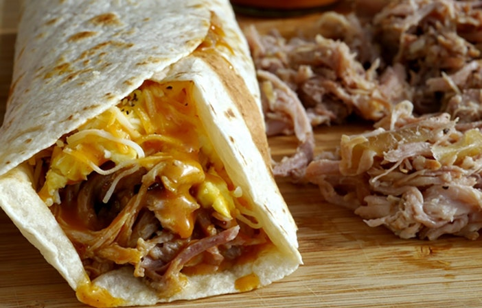 Pulled-Pork-Breakfast-Wraps cheese egg BBQ sauce noblepig.com