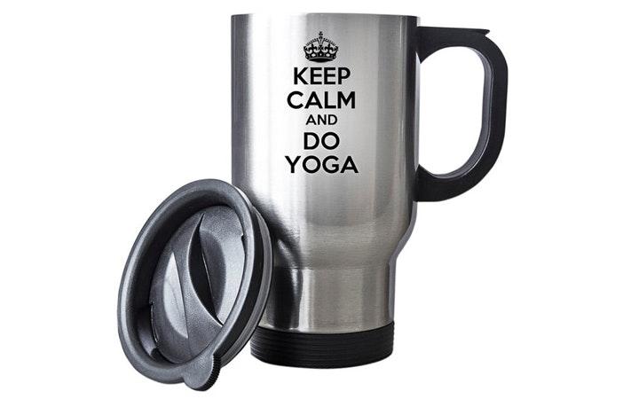 Keep Calm And Do Yoga Travel Mug DaisiesBoutiqueX