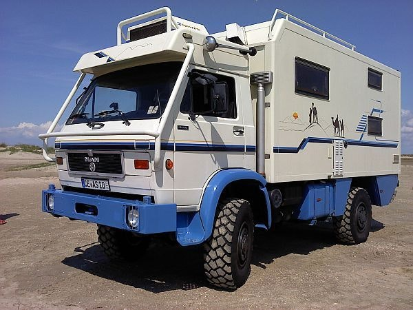 off-road camper van white and blue
