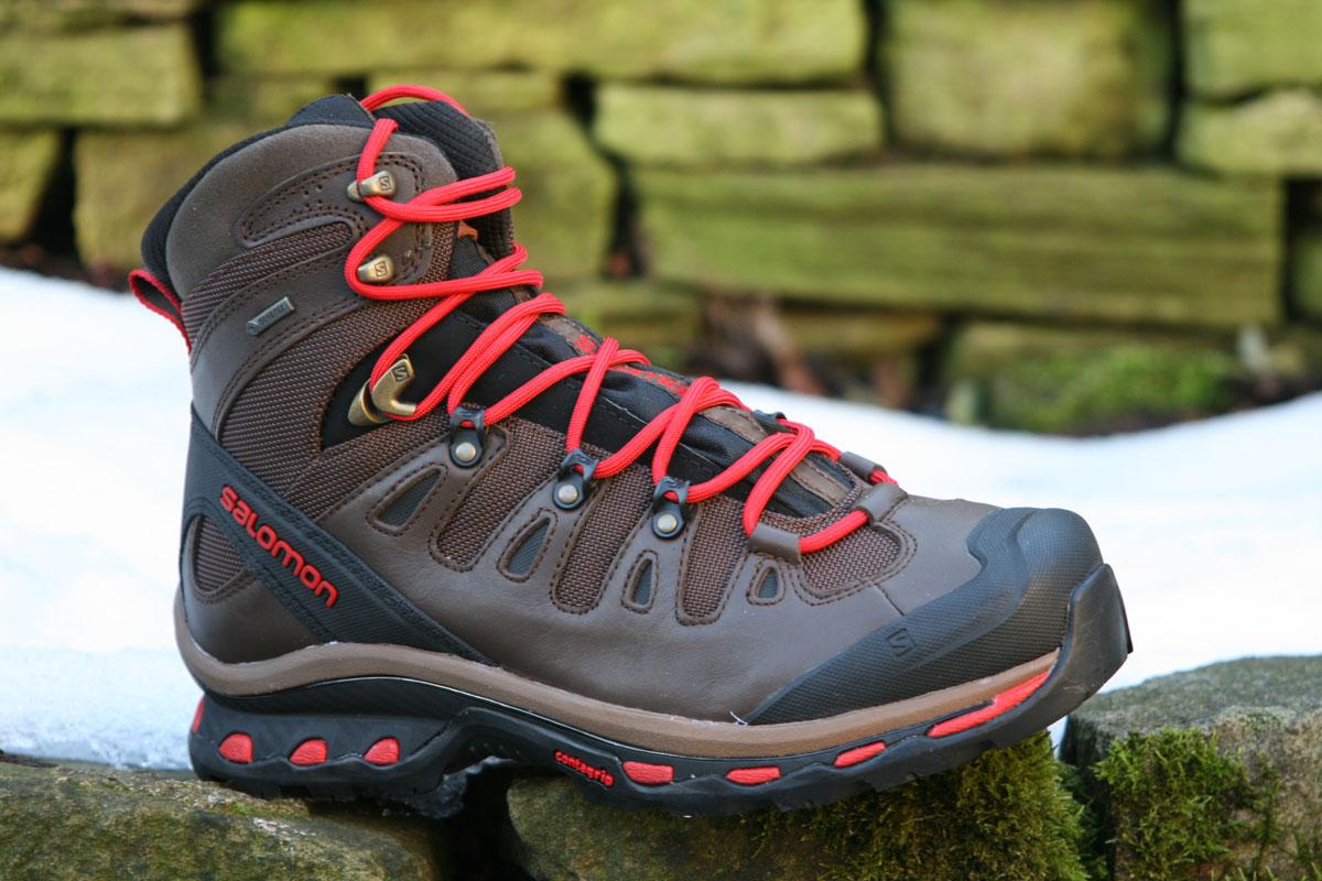 Salomon Quest Origins. Leather Boots Red Laces