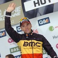 Philippe Gilbert celebrates a third place finish at the 2012 La Fleche Wallonne