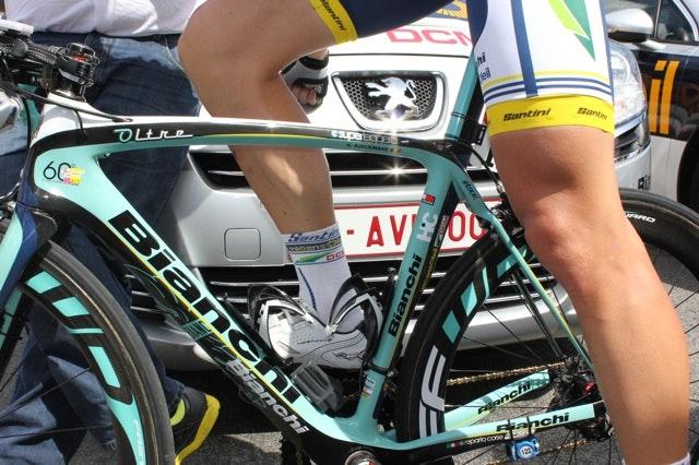 The legs of professional cyclist Kris Boeckmans