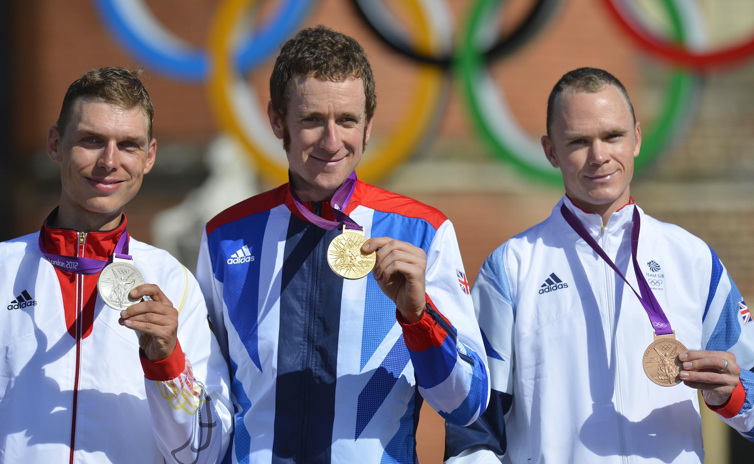Bradley Wiggins, Chris Froome, Tony Martin, Olympic time trial, podium, London 2012, pic: ©Sirotti