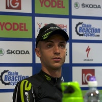 Cyclist, Jon Tiernan-Locke, wearing the black and green of Endura Racing