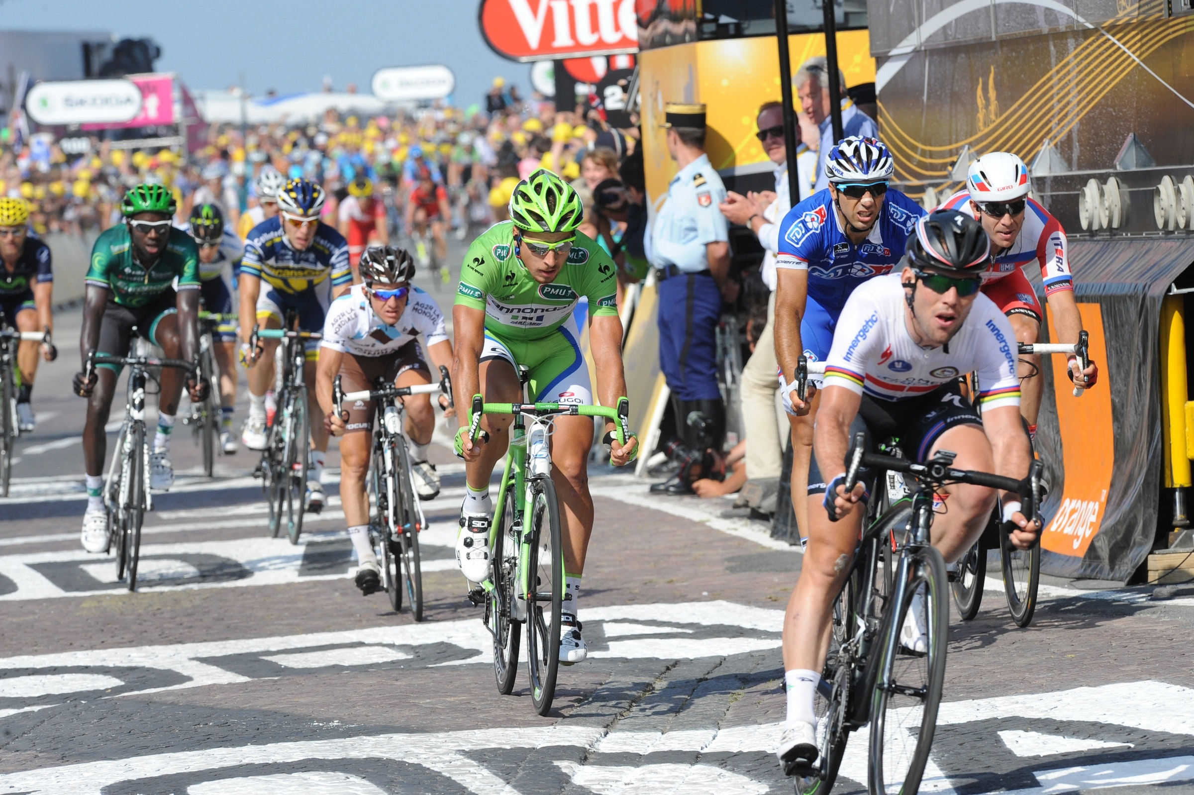Mark Cavendish and Peter Sagan, Tour de France 2013, stage ten, finish, pic: ©Stefano Sirotti