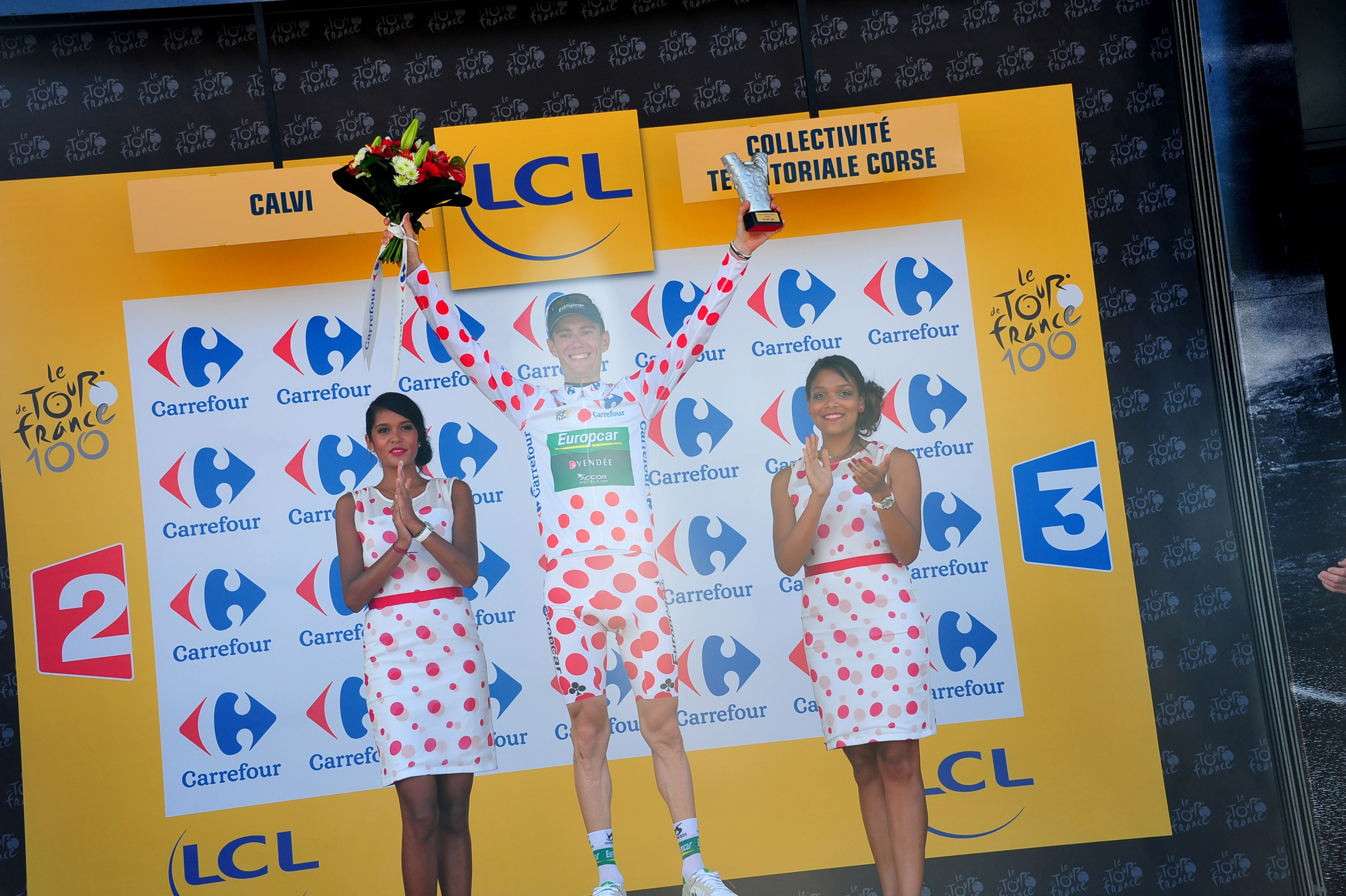 Pierre Rolland, polka dot jersey, podium, stage three, Tour de France, Europcar