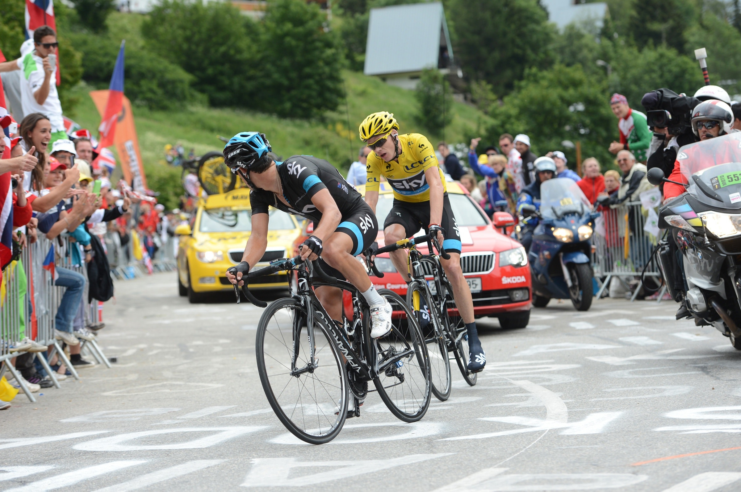 Richie Porte and Chris Froome, Tour de France 2013, stage 18, Alpe d'Huez, pic: ©Stefano Sirotti