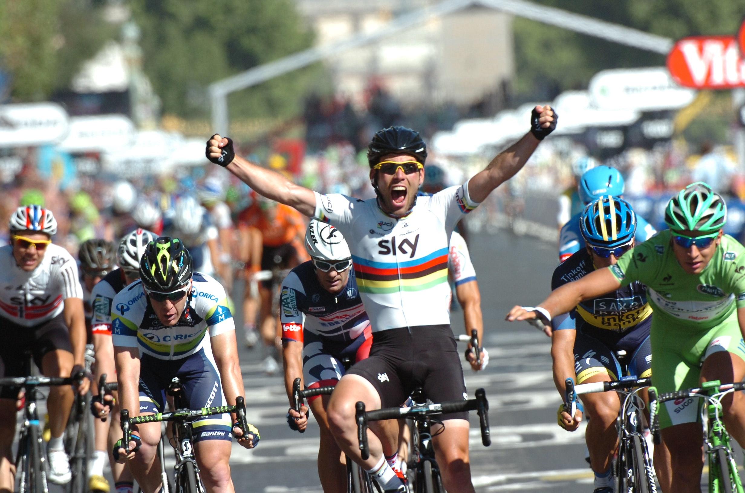 Mark Cavendish, 2012, Tour de France, world champion, Champs-Elysees, rainbow jersey, celebration, Paris, Team Sky, pic: (c) Stefano Sirotti