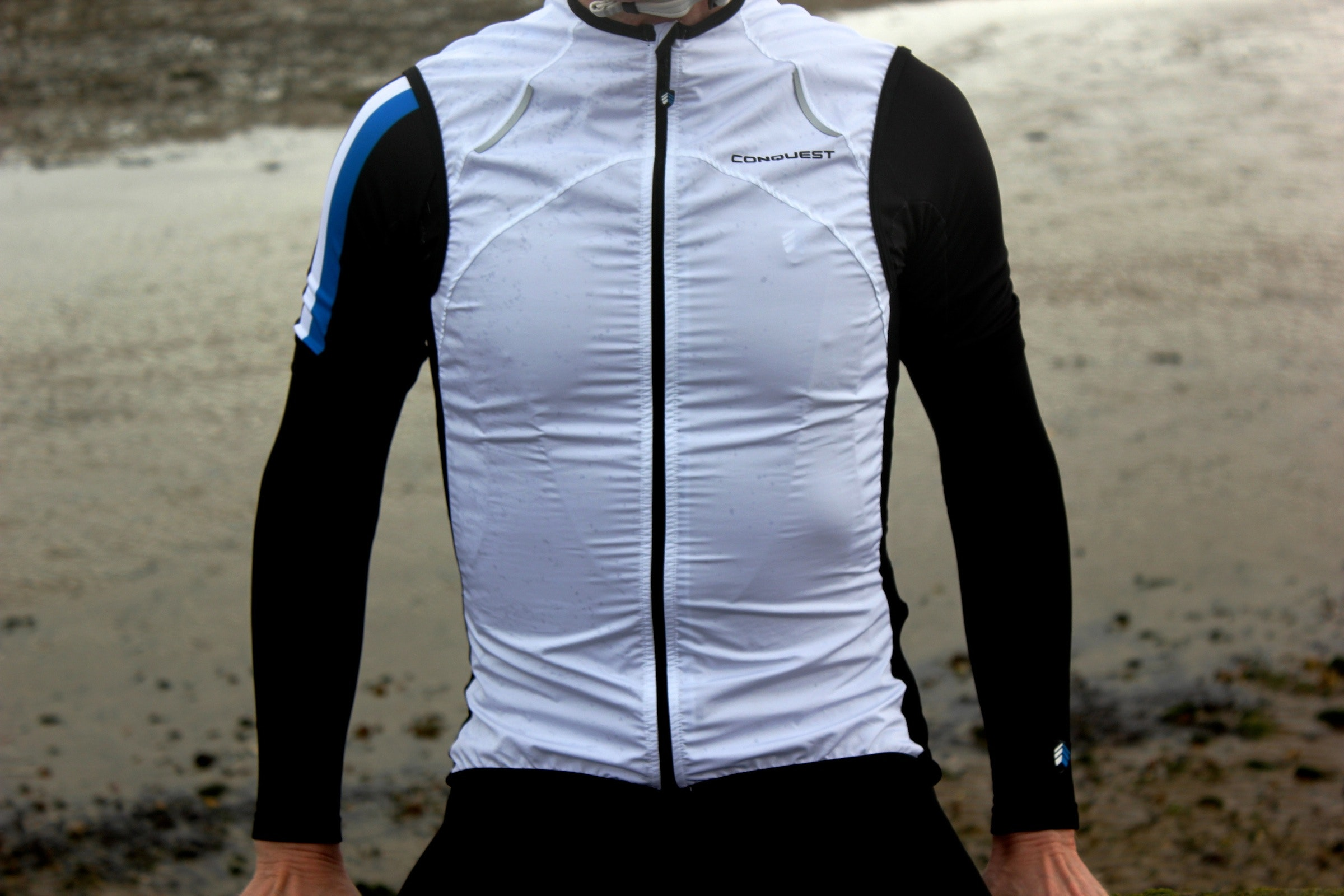 Conquest clothing, water resistant gilet, pic: Peter Lovell, ©Factory Media