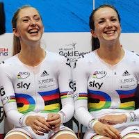 UCI Track Cycling World Cup Manchester - Day 1, Laura Trott, Elinor Barker, rainbow jersey, pic: Alex Broadway/SWpix.com