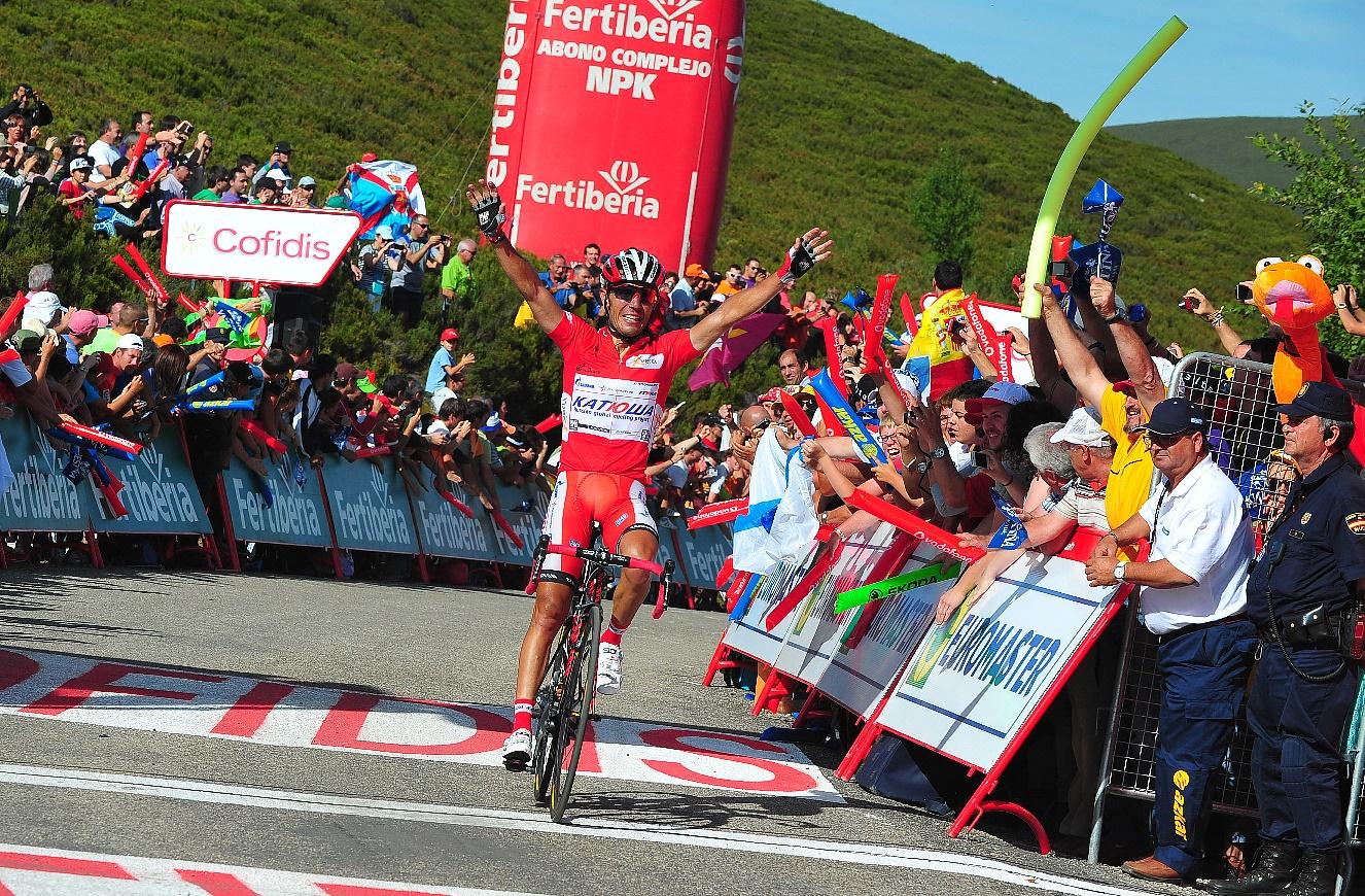 Joaquim Rodriguez, Katusha, Vuelta a Espana, 2012, Ancares, salute, pic: Sirotti