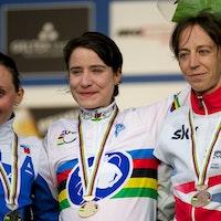 UCI Cyclo-cross World Championships, 2014, podium, Marianne Vos, Helen Wyman, Eva Lechner, pic: Balint Hamvas