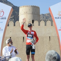 Chris Froome, Tour of Oman 2014, stage five, red jersey, pic: ©ASO/Bruno Bade