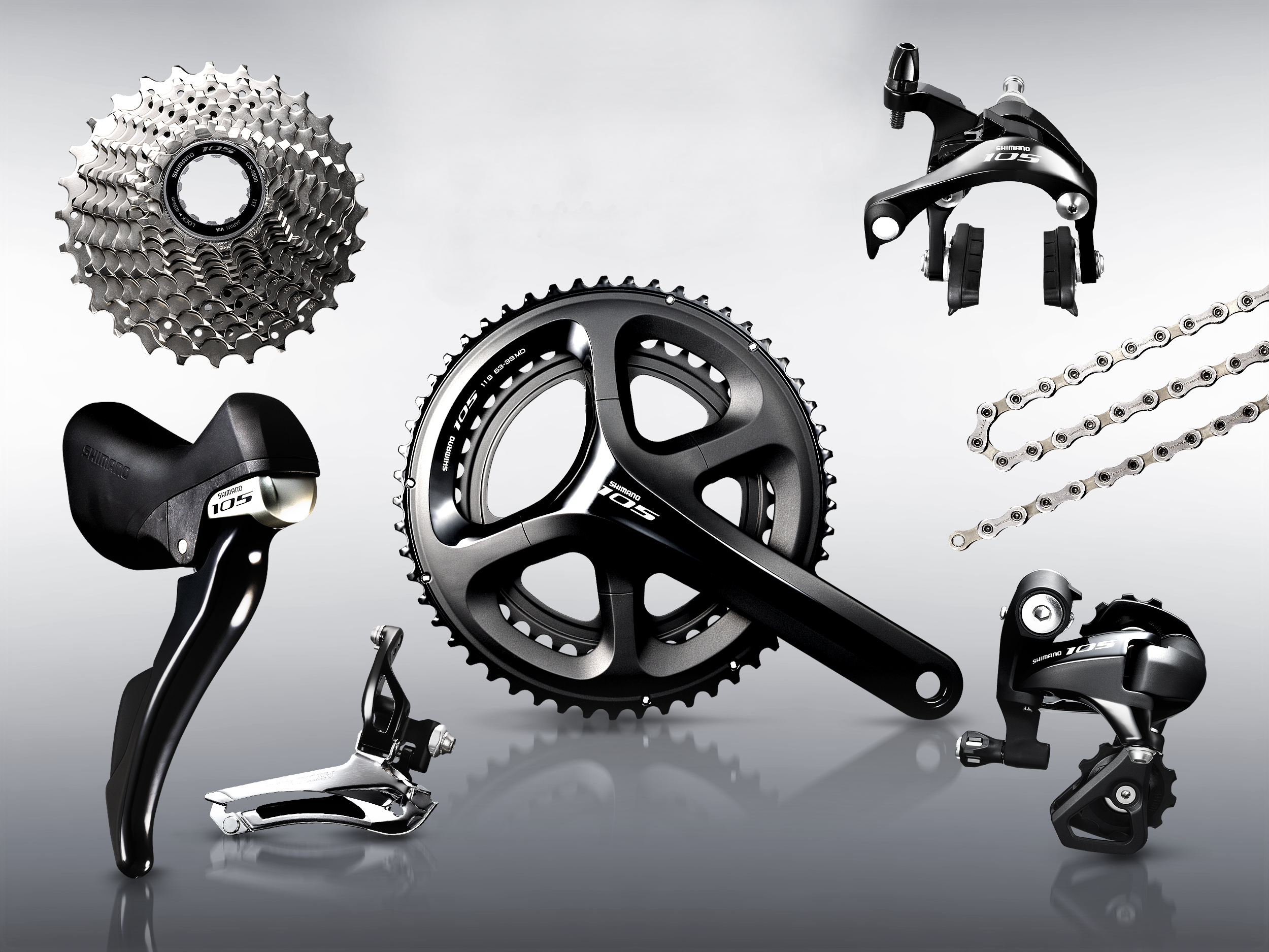 Shimano 105 groupset, 5800-series, pic: ©Shimano, submitted by Rudy Bouwmeester, used with permission