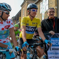 Geraint Thomas, yellow jersey, Paris-Nice, 2014, stage five, pic: P.Perreve/ASO