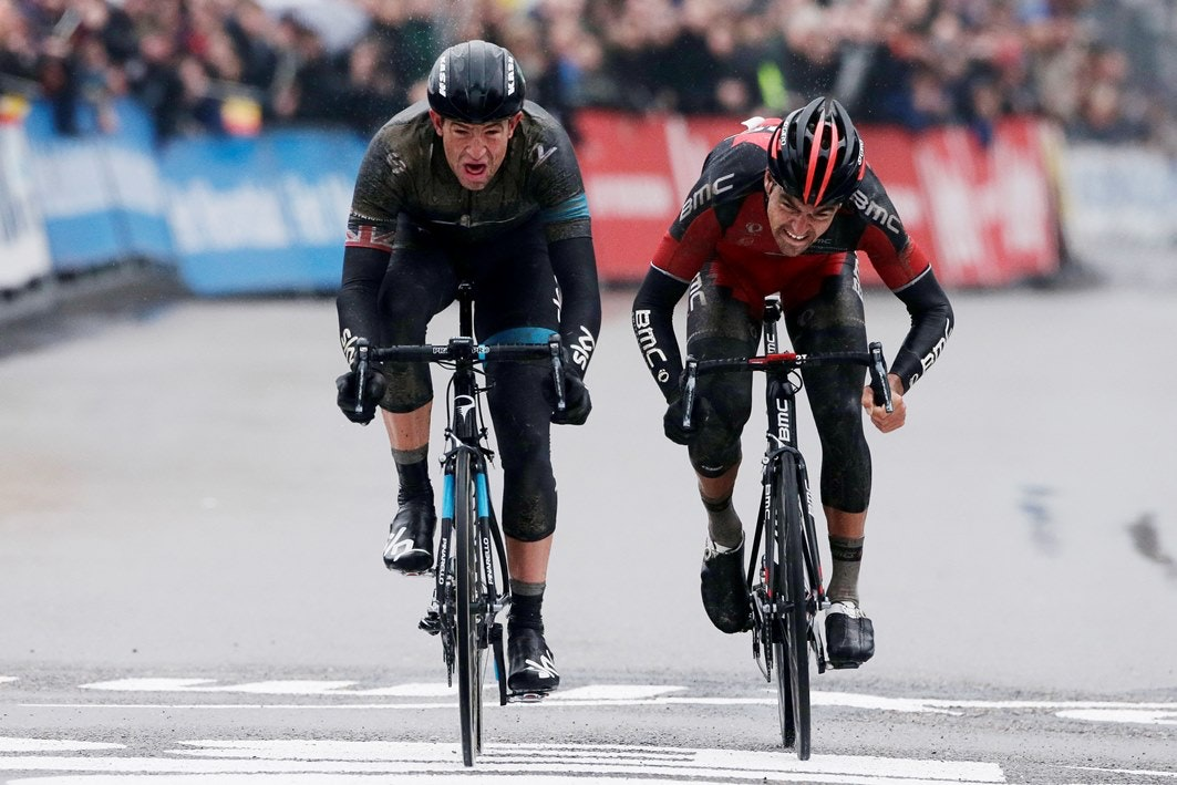 Ian Stannard, Team Sky, Greg van Avermaet, BMC Racing, Omloop Het Nieuwsblad, 2014, pic: Sirotti