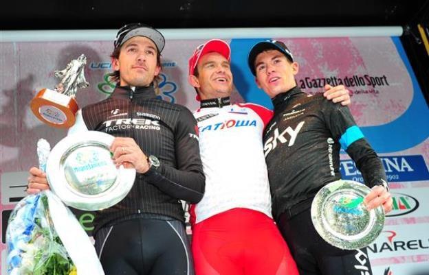 Ben Swift, Fabian Cancellara, Alexander Kristoff, podium, Milan-San Remo, 2014