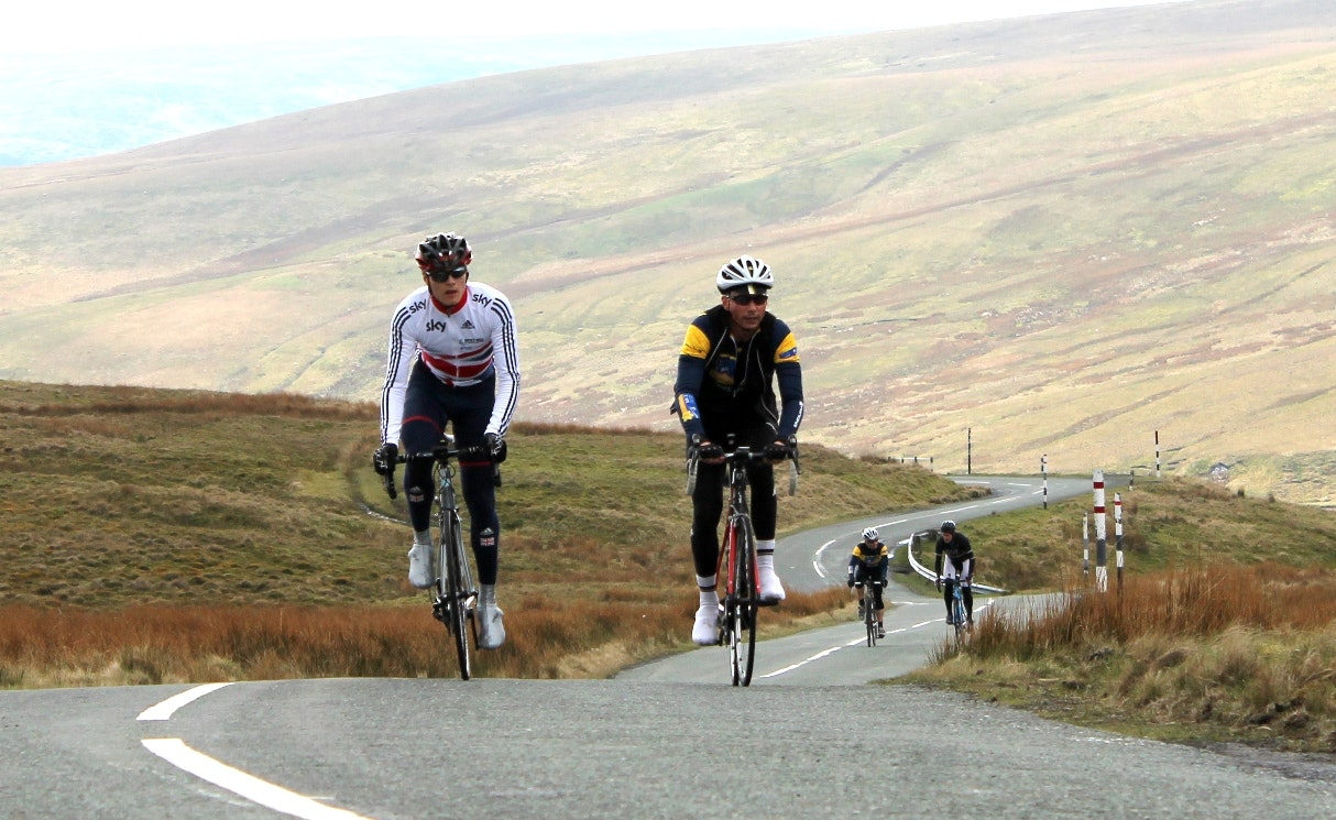 Steven Burke, Jonathan Edwards, Etape Pennines, training ride, sportive, 2014, pic: Colin Henrys/Factory Media