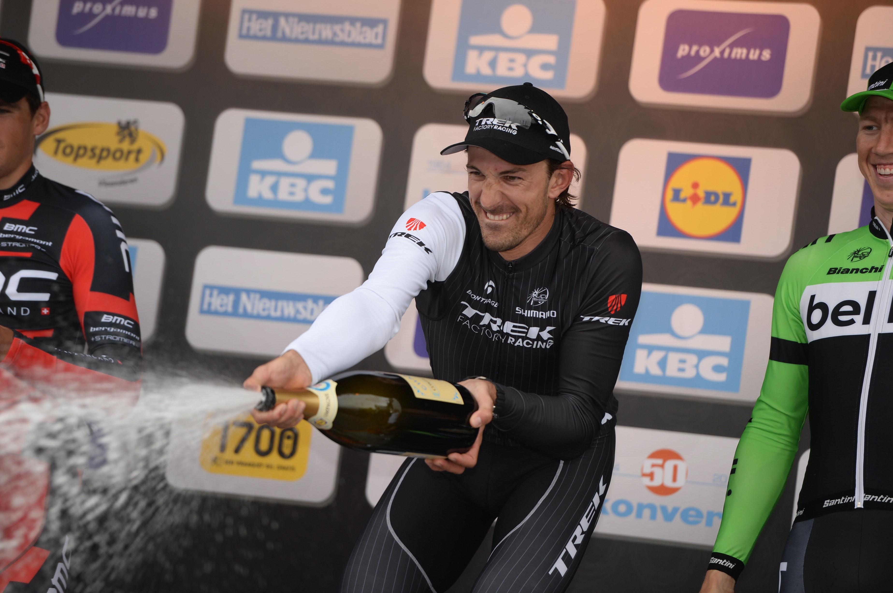 Fabian Cancellara, Trek Factory Racing, champagne, podium, Tour of Flanders, 2014, pic: Sirotti