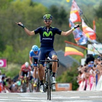 Alejandro Valverde, La Fleche Wallonne, 2014, Movistar, salute, pic: SIrotti