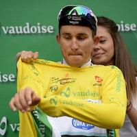 yellow jersey, Michal Kwiatkowski, Omega Pharma-Quickstep, podium, Tour de Romandie, 2014, prologue, time trial, pic: Sirotti