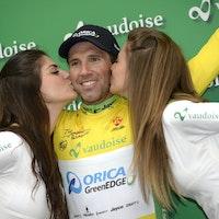 Michael Albasini, yellow jersey, podium, Orica-GreenEDGE, Tour de Romandie, 2014, stage two, pic: Sirotti