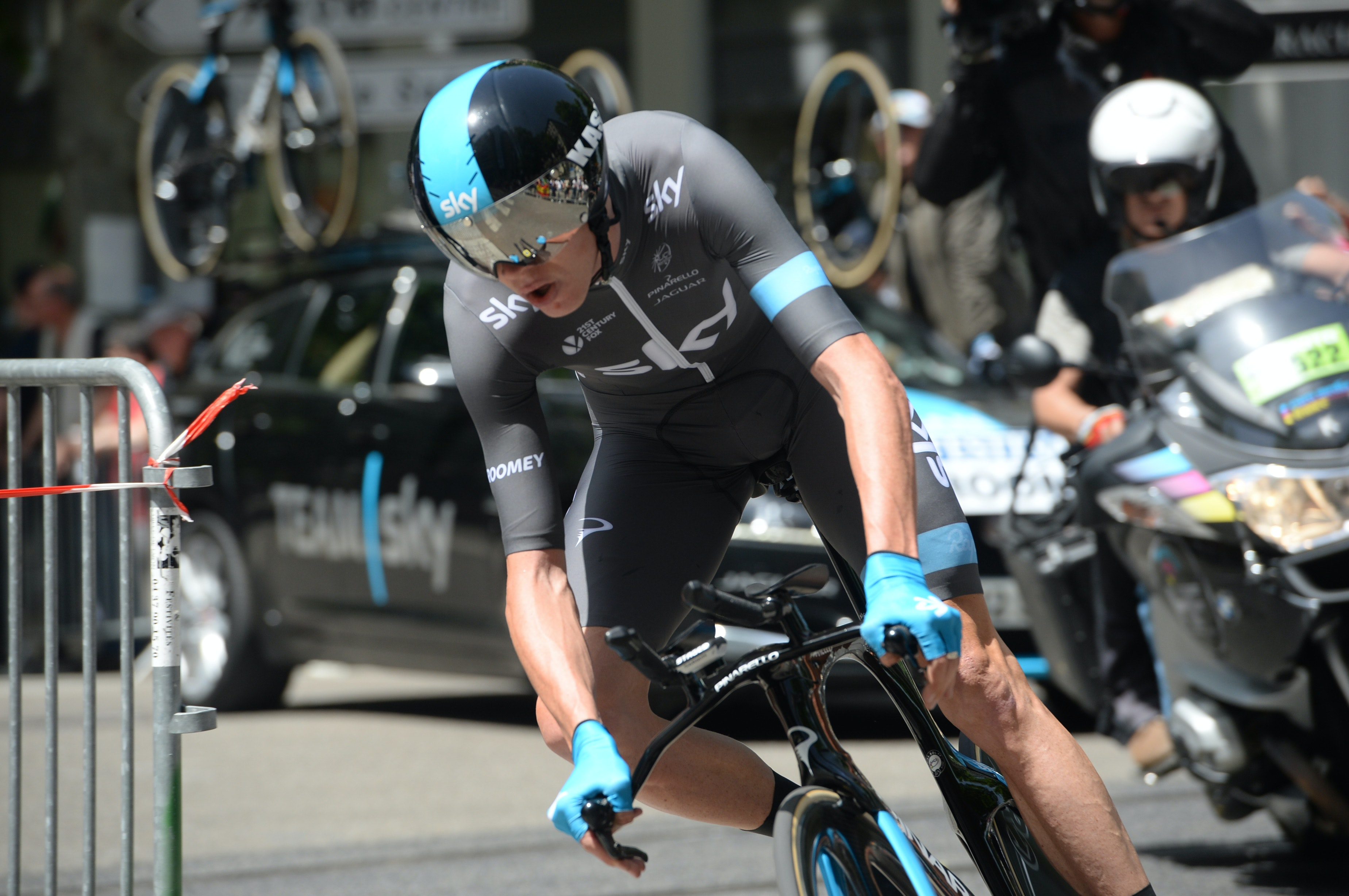 Chris Froome, Team Sky, time trial, Criterium du Dauphine, 2014, stage one, pic: Sirotti