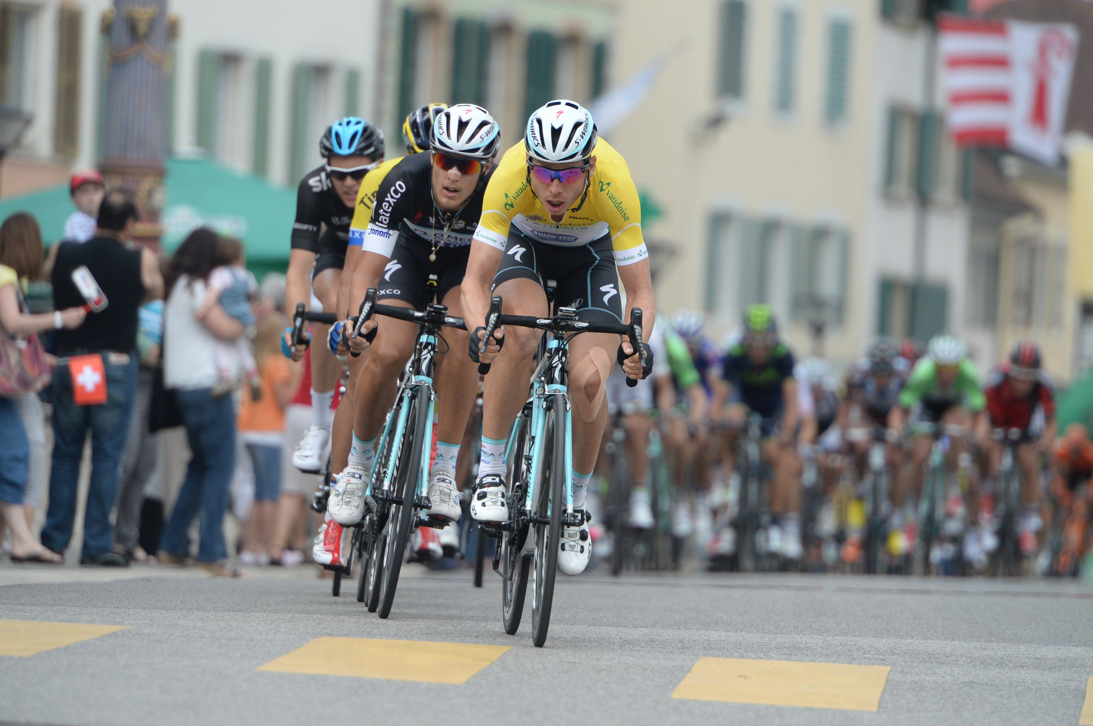 Tony Martin, lead-out, yellow jersey, Omega Pharma-Quickstep, Tour de Suisse, 2014, stage six, pic: Sirotti