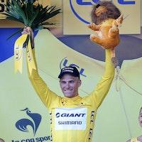Marcel Kittel, yellow jersey, Giant-Shimano, Tour de France, stage one, Harrogate, pic: Simon Wilkinson/SWpix.com