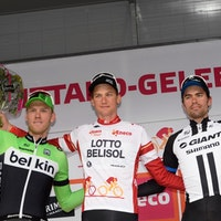 Lars Boom, Belkin, Tim Wellens, Lotto-Belisol, Tom Dumoulin, Giant-Shimano, podium, Eneco Tour, 2014, stage seven, pic: Sirotti