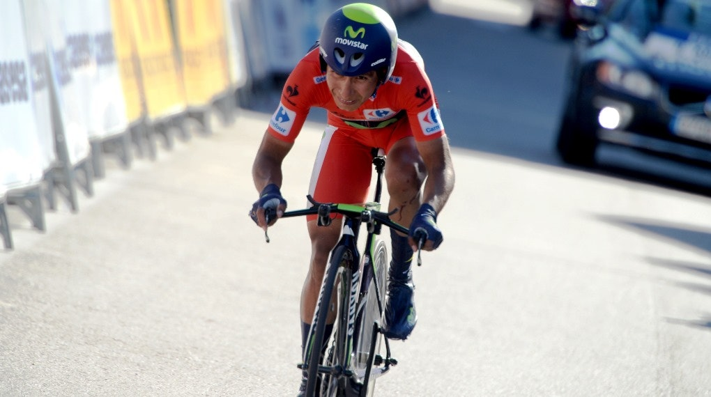 Nairo Quintana, Movistar, red jersey, individual time trial, stage ten, pic: Sirotti