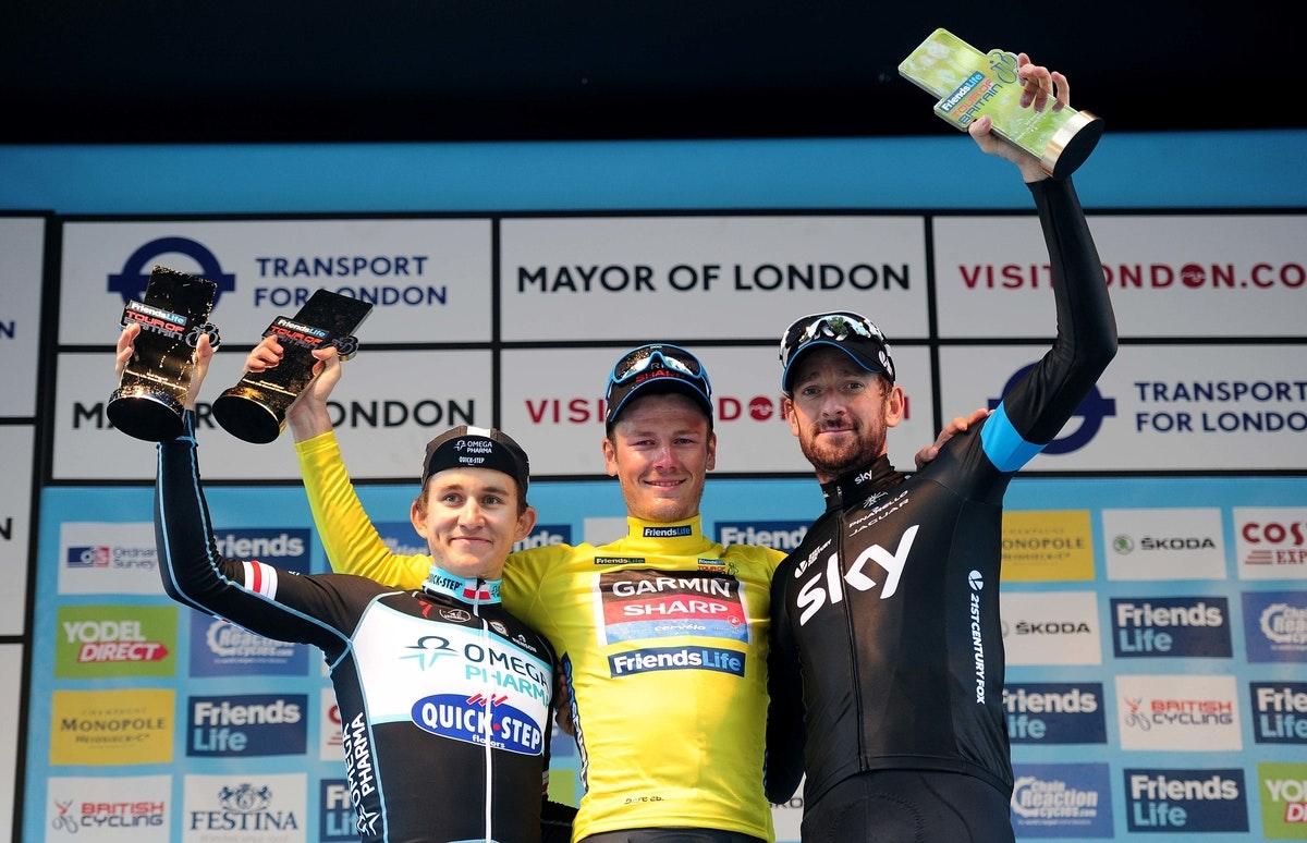 Tour of Britain 2014, podium, Bradley Wiggins, Michael Kwiatkowski , Dylan Van Baarle (Pic: Simon Wilkinson/SWPix.com)