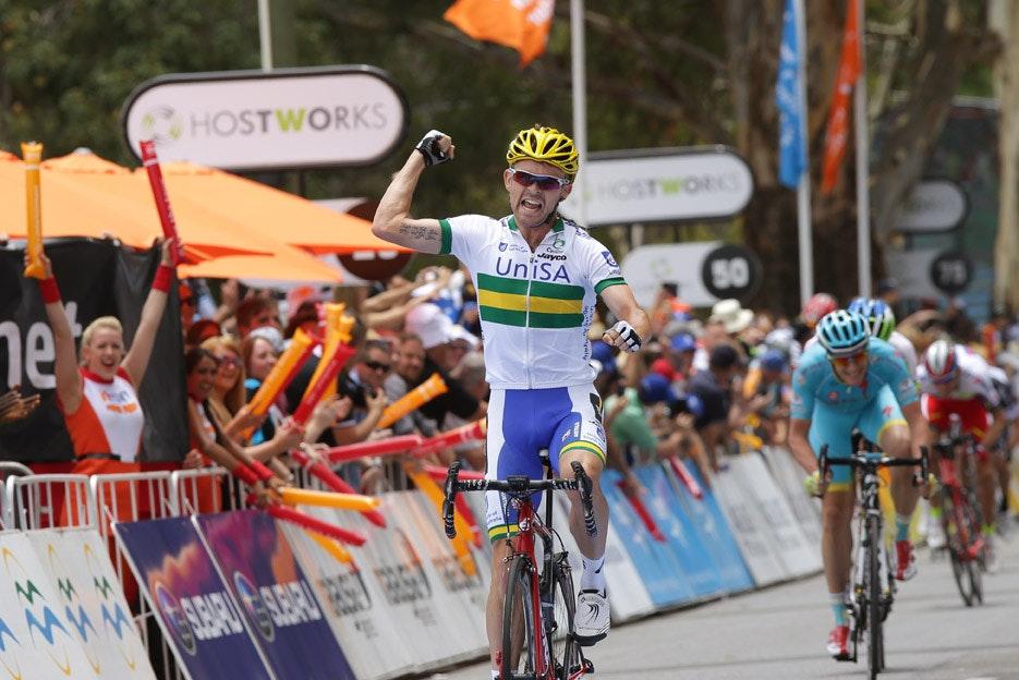 Jack Bobridge, Tour Down Under, stage one, celebration, pic: Tour Down Under