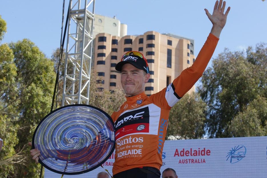 Rohan Dennis, BMC Racing, ochre jersey, Tour Down Under, pic: Tour Down Under, 2015