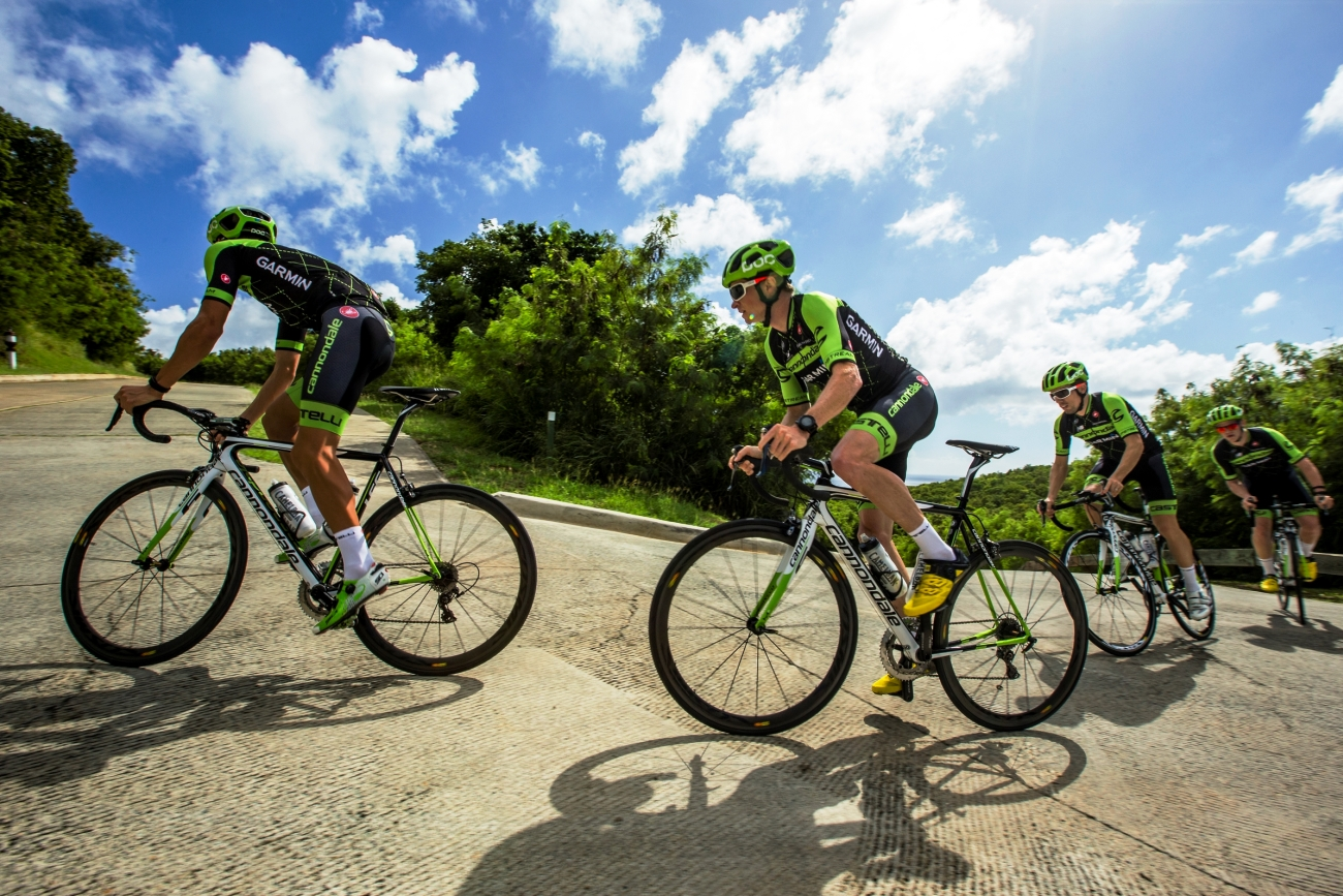 Cannondale-Garmin, climb, group ride, British Virgin Islands, pic: Cannondale-Garmin