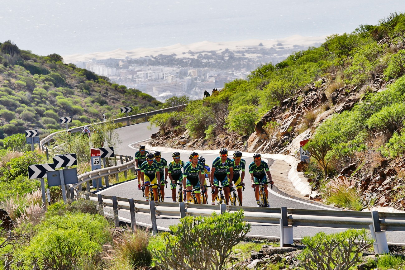 Tinkoff-Saxo, training, group ride, Gran Canaria, climb, pic: Luca Bettini/Tinkoff-Saxo