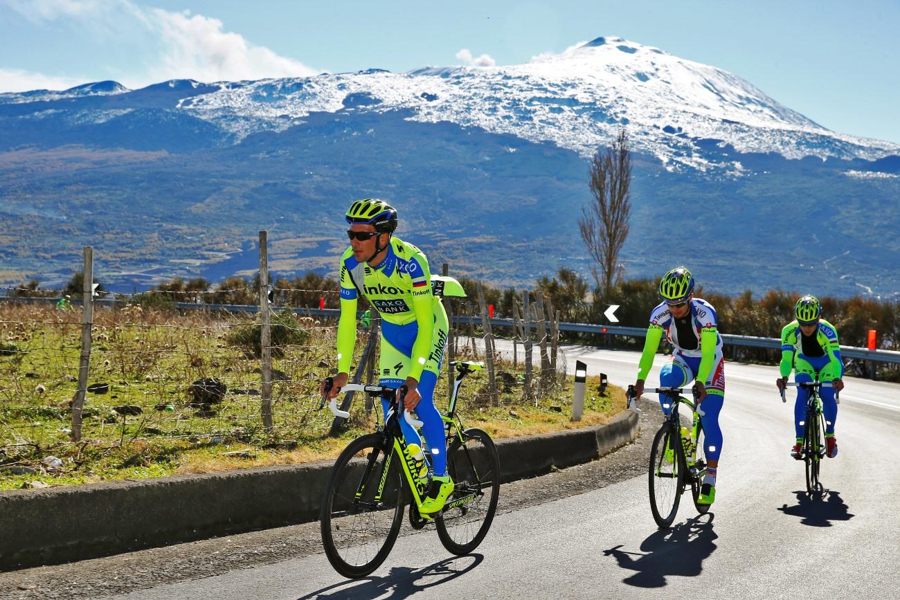 Tinkoff-Saxo, Sicily, Ivan Basso, training, climb, pic: Luca Bettini/Tinkoff-Saxo
