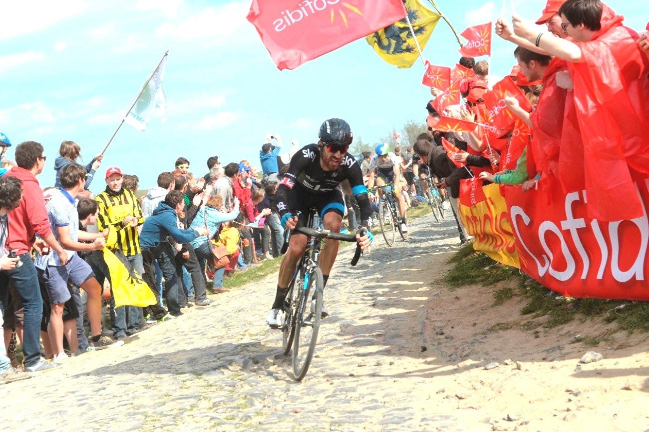Sir Bradley Wiggins, Paris-Roubaix, 2014, pic: Sirotti