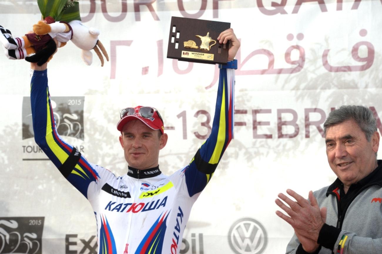 Alexander Kristoff, Katusha, Tour of Qatar, 2015, Eddy Merckx, pic: Bruno Bade/ASO