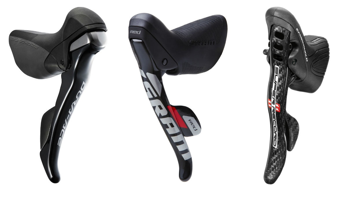 Shifters, Shimano Dura-Ace, SRAM Red, Campagnolo Super Record groupsets