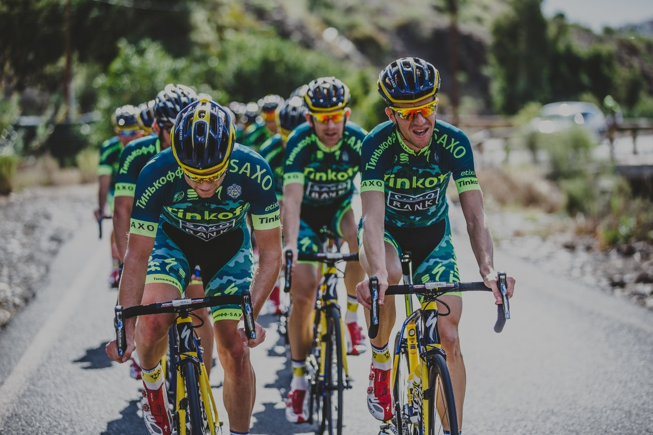 Tinkoff-Saxo, training, group ride, climb, camouflage, kit, pic: Luca Bettini
