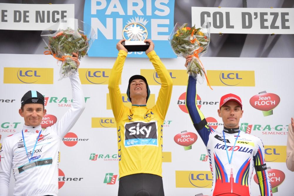 Richie Porte, Team Sky, yellow jersey, Paris-Nice, podium, 2015, pic: G.Demouveaux/ASO