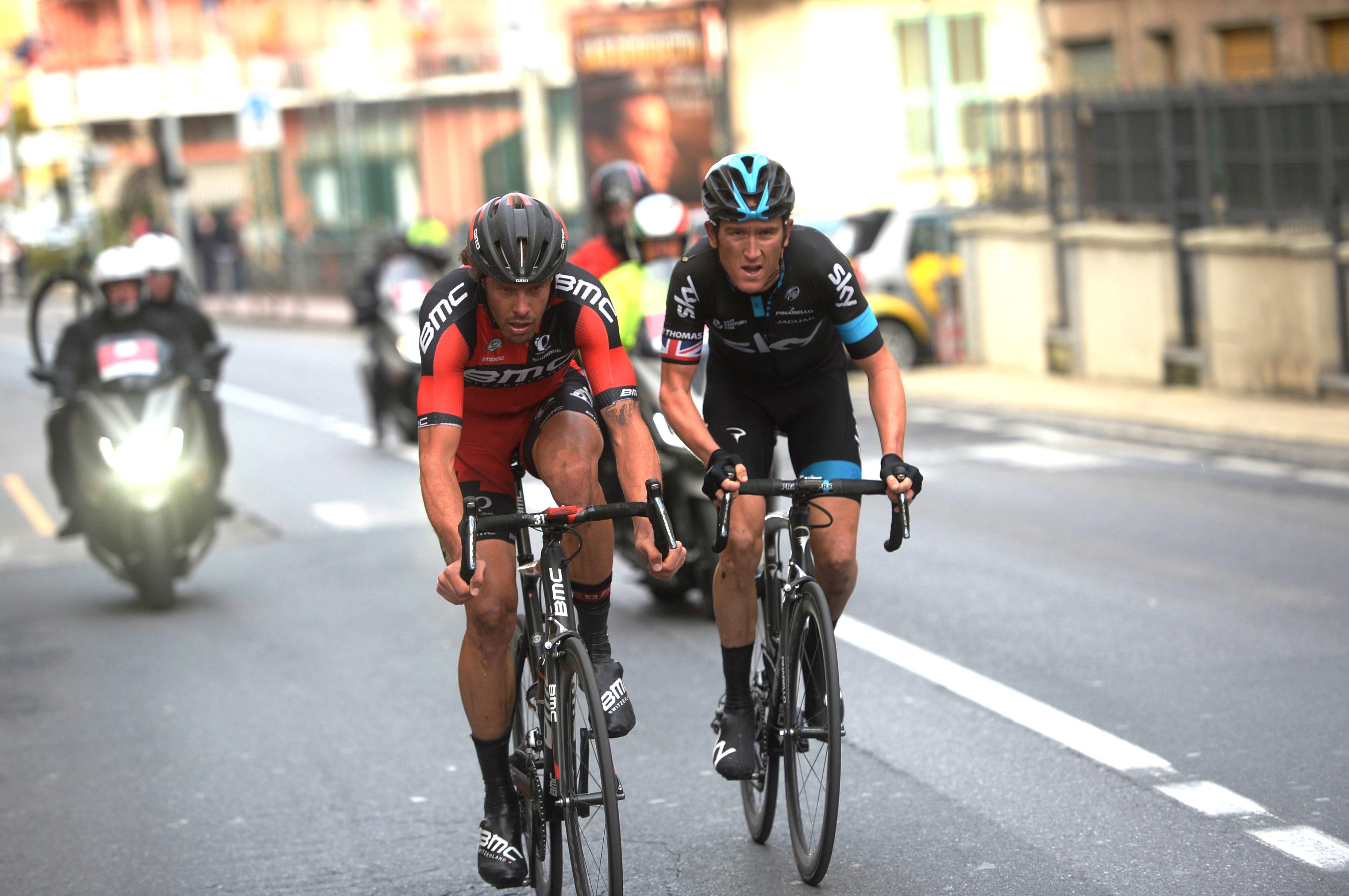 Geraint Thomas, Daniel Oss, Team Sky, BMC Racing, break, Milan-San Remo, 2015, pic: Sirotti