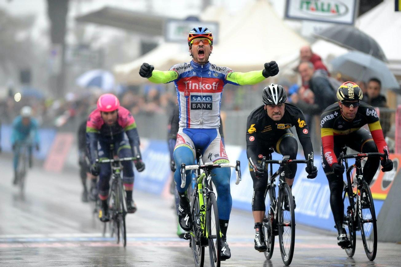 Peter Sagan, Tinkoff-Saxo, 2015, Tirreno-Adriatico, rain, salute, pic: Sirotti