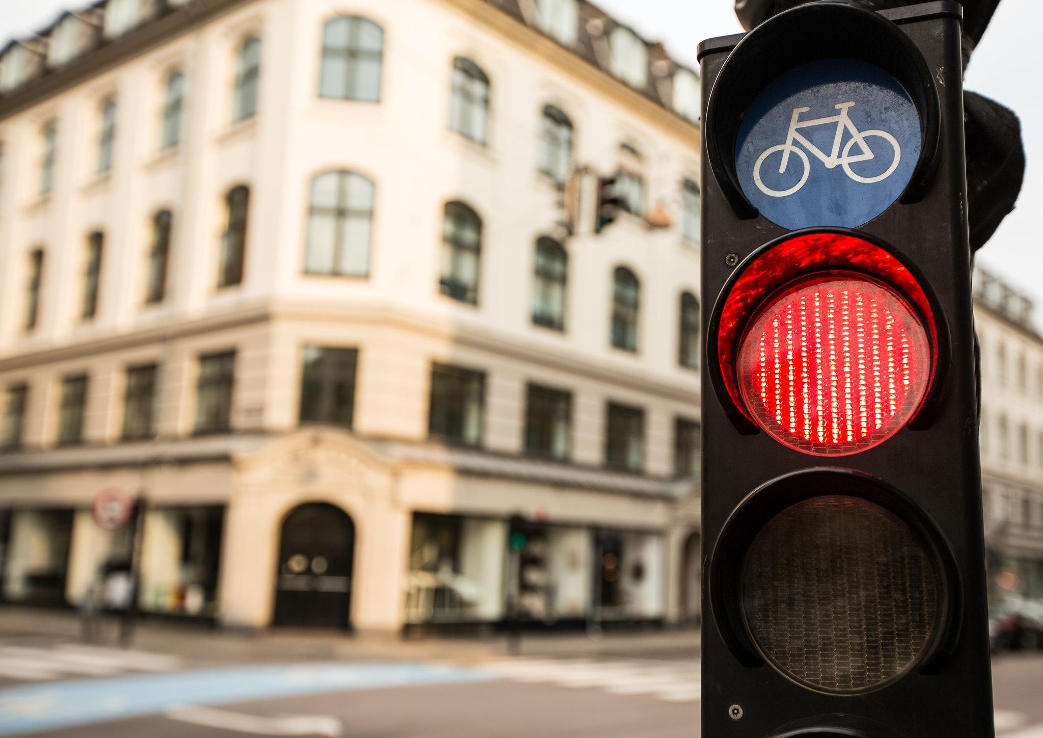 Red traffic light, urban, city