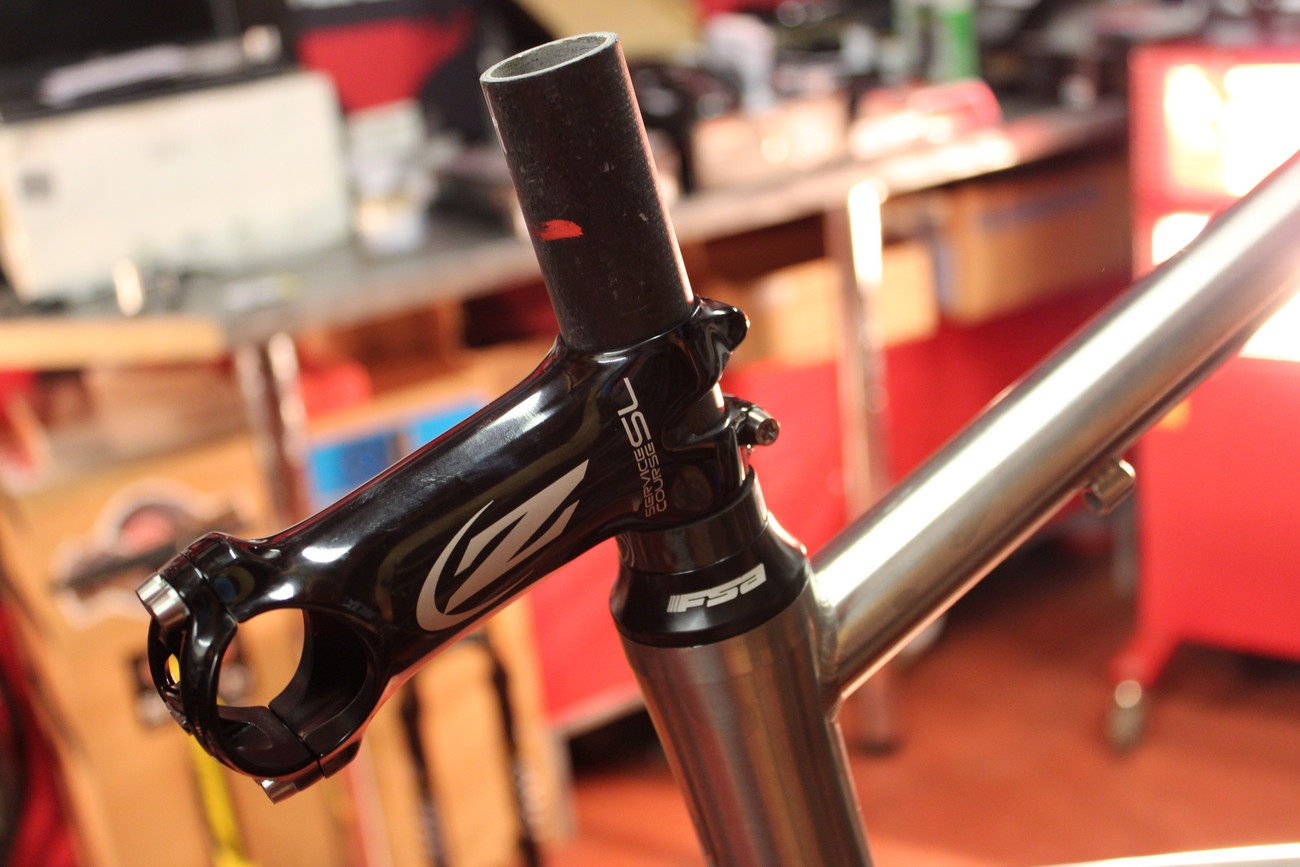 RoadCyclingUK winter bike build 2013 - Kinesis GF_Ti V2, Zipp Service Course SL stem (Pic: George Scott/Factory Media)