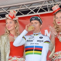 Michal Kwiatkowski, Etixx-QuickStep, world champion, Amstel Gold Race, podium, beer, pic: Sirotti