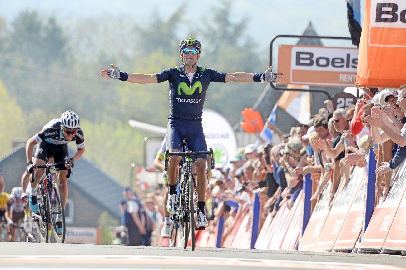 Alejandro Valverde, 2015, Movistar, salute, Mur de Huy., La Fleche Wallonne, pic: Sirotti