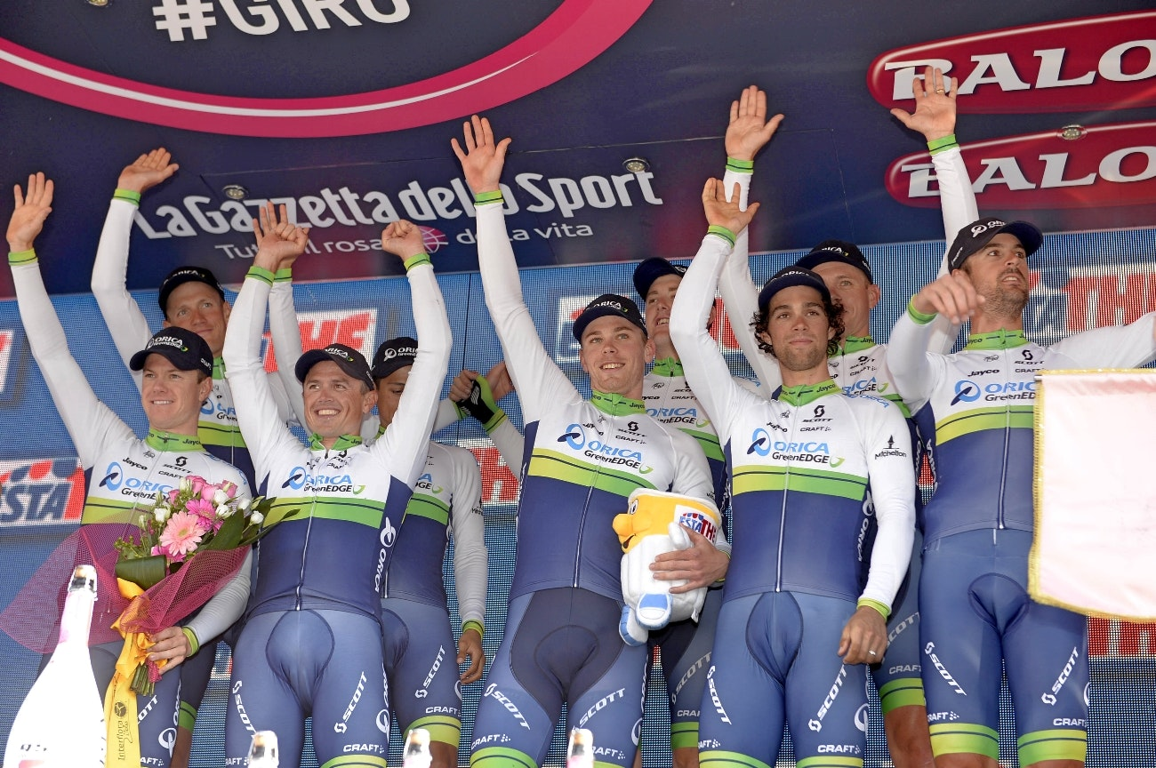 Orica-GreenEDG, team time trial, 2015, Giro d'Italia, podium
